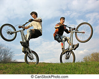 two Mountain Bikers on se - two Mountain Bikers on second...
