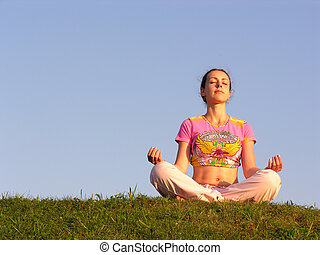 girl meditation blue sky