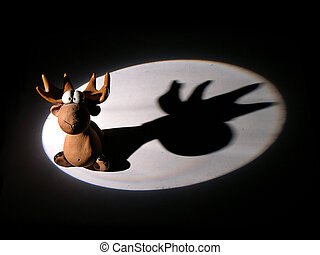 elk toy in light spot