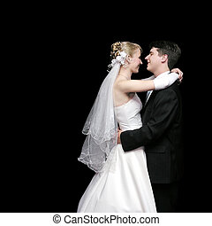 novia, novio, bailando