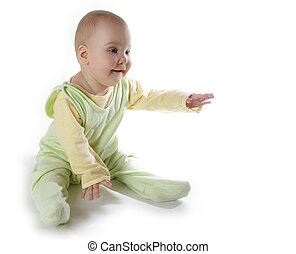 baby with hand up on white