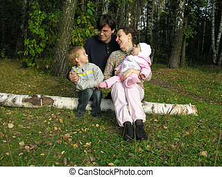 family on birch.  - family on birch at autumn wood