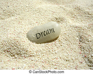 dream stone - a dream stone in the sand on a beach