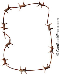barbed wire - Frame - a rusty barbed wire on a white...