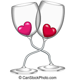 Wine glasses Heart - Glasses of wine filled with hearts.