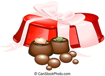Chocolate candy box - Illustration of a candy box and...