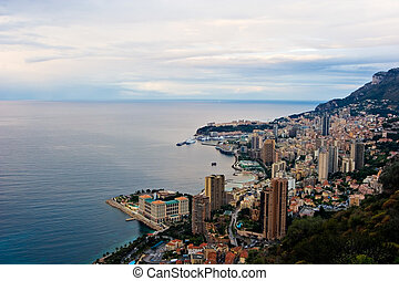 Monaco at Sunrise - A view over Monaco skyline at Sunrise