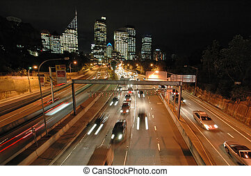 night sydney traffic - expressway in sydney, night traffic,...