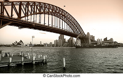 good old sydney - black and white colored photograph of...