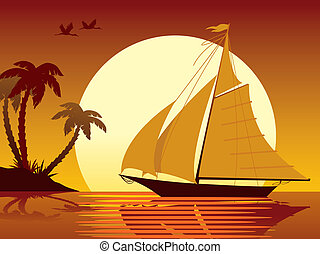 Sailing vacation - Sailing tropical vacation: ship, sunset,...