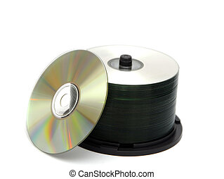 Rack of CDs - A rack of Compact disks isolated on white...