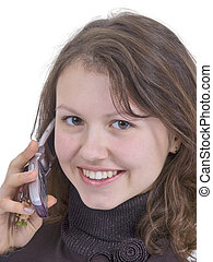 mobile conversation - pretty girl talk by mobile phone and...