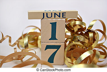 June 17b - The date June 17 as a reminder of Fathers Day