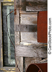 Old Junk Still Life - An old window, door and rusted metal