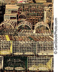 Lobster traps - many lobster traps in sephia
