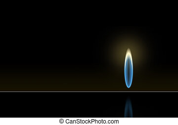 Gas flame - Isolated gas flame burning on dark background
