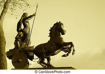 Warrior Statue - Sepia tone of warrior and horse drawn...
