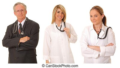 Medical Team - Senior doctor physician and two younger...