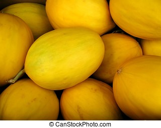 Yellow Honeydew Melons - -- the honeydew belongs to the...