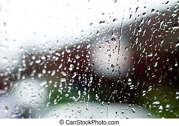 Rainning - Drops of water on the windows. Shallow depth of...