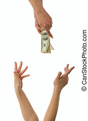 Pecuniary aid - Woman hands trying to  reach money