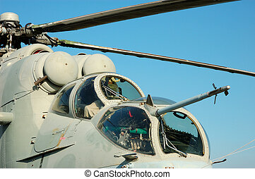 Helicopter Mi-24 - Cockpit of the Russian Mi-24 Hind...