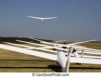 glider - waiting to go into the air