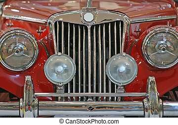Classic Car - Close up of the front of an old sports car