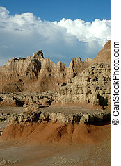 Badlands National Park - A view of the painted landscape in...
