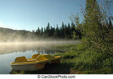 Paddle Boat - A yellow paddle boat is docked on the shore of...