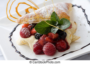 Pastry dessert - Delicious pastry dessert filled with fruit...