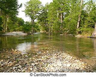 Upstream - Looking upstream in clear, clean river