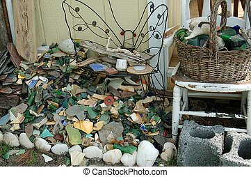 Pile of shells and pottery - This is a pile of shells and...