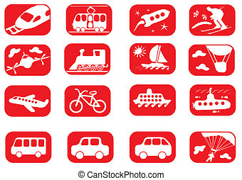 Transportation icon set - Red and white transportation icon...