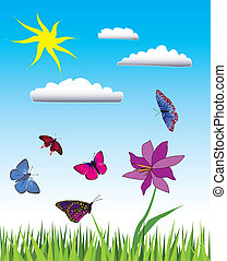 Flying butterflies - Vector illustration of many flying...