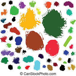 Paint brush spots - 50 ink and brush spots Vector...