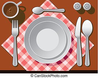 Place setting with plate, fork, spoon knife, and coffee cup.