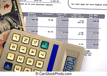 Healthcare Costs - Calculator medical statement and dollor...