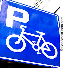 Bike Parkhere - Bicycle parking area sign.