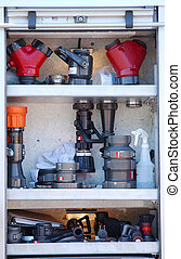Fire Fighting Equipment - fire fighting equipment on fire...