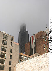 Sears Tower in snow storm Chicago Illinois
