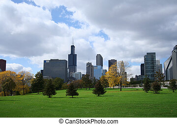 chicago skyline from Grant park including Sears Tower