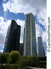 Chicago condominiums near Lake Michigan with Aon Tower