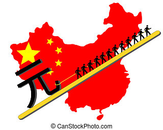 Workers pulling giant Yuan sign with chinese map and flag