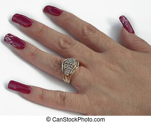 Nails polished - Womans had with nail polish