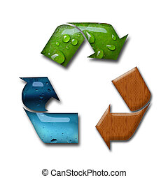 Recycling concept - Illustration of recycling symbol with...