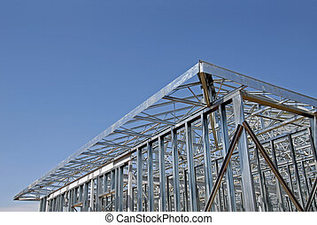 Steel Frame Construction - Industrial building being built...