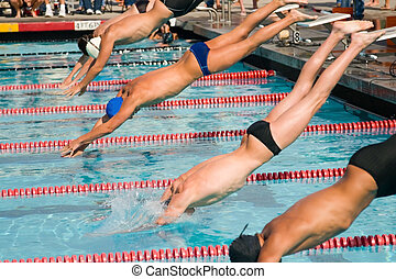Swim Finals - The swimmers compete hard in the high school...