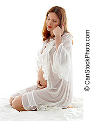 pregnant redhead in transparent sleepwear - image of...