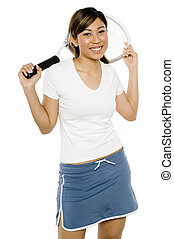 Female Tennis Player - An attractive young asian woman...
